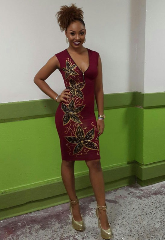 Laura Bruce wearing one of her hand-painted designs.