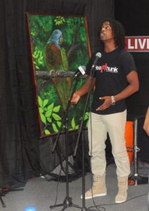Black Crayon performing at last week's poetry slam.