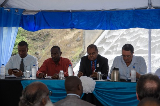 The head table at the launch of the Dam de-silting project L-R: Vincent Hippolyte WASCO GM, Egbert Louis Chairman of WASCO, Senator Jimmy Fletcher and Prime Minister Kenny Anthony.