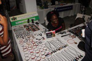 Terril Nicholas with her Illuminating designs.