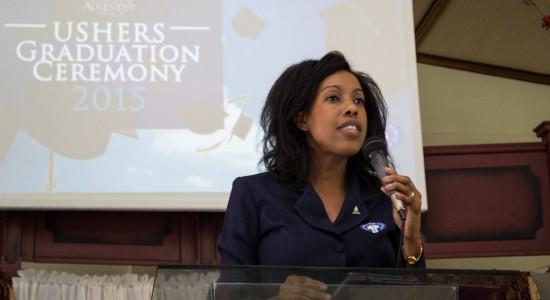 Vanessa Julien, President of the Ushers For Christ Ministry delivering remarks.