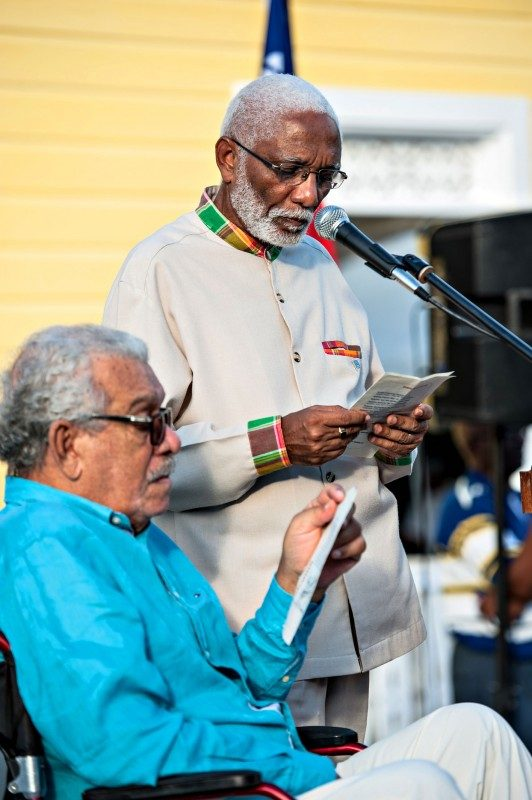 Derek Walcott and Robert Lee engaged in a reading on Sunday.
