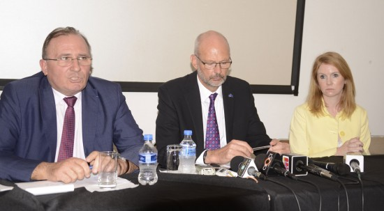 A press conference like no other was convened here on Thursday by (l-r) French Ambassador Eric de La Moussaye, the head of the EU Delegation Mikael Barfod, and British High Commissioner Victoria Dean.