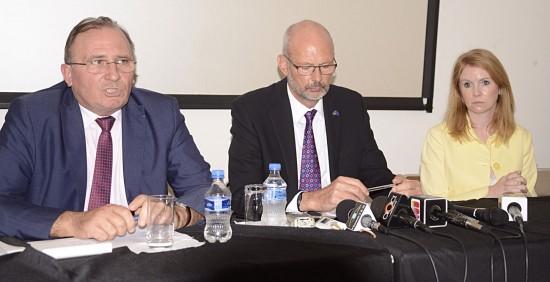 Left to right: French Ambassador Eric de La Moussaye, EU delegation head Mikael Barford and British High Commissioner Victoria Dean.