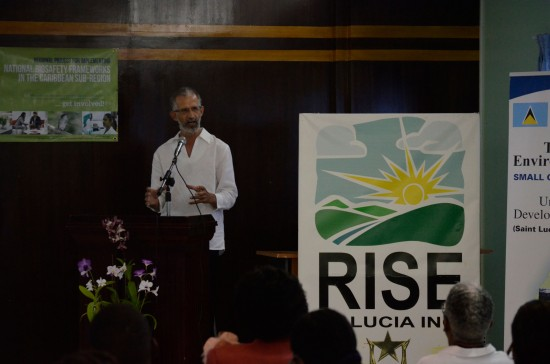 RISE St Lucia Inc Director, Senator Dr. Stephen King, speaking at the project launch.