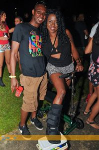 "Not even bodily injury would keep this feter away from ""Illusions"" fete last week. (Photo: Triniscene)"