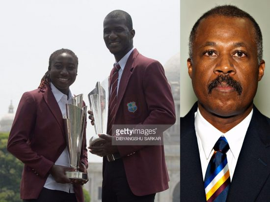 (Left) True champions and leaders: West Indies cricket captains Stafanie Taylor and Darren Sammy. (Right) Sir Hilary Beckles