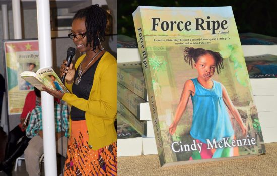 (Left) Cindy McKenzie on February 21 presented her book to an audience at The Tax House - Brooklyn, New York. (Right) Force Ripe - The Novel