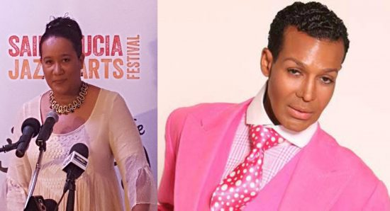 (Left) Joycie Mederick speaking on Thursday at the launch of Hot Couture. (Right) Dwight Eubanks of Real Housewives of Atlanta fame will be in Saint Lucia for Hot Couture.