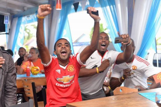 Flow lucky customers enjoying the FA Cup final.