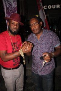 "Photos: Jason ""Shaft"" Bishop of Trinidad (left) with Teddy"