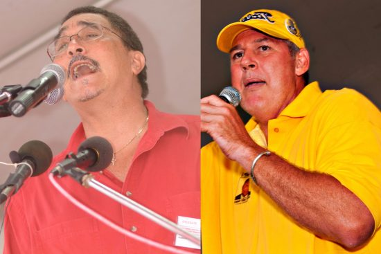 (Left) SLP leader Kenny Anthony: Obviously he has said and done all he ever planned to do about the dark clouds over the heads of the RSLPF. Or for that matter Grynberg! (Right) UWP leader Allen Chastanet: Will he pledge to resolve the IMPACS case? Will he revisit the Suzie d'Auvergne Constitutional Reform Proposals? Time's running out!