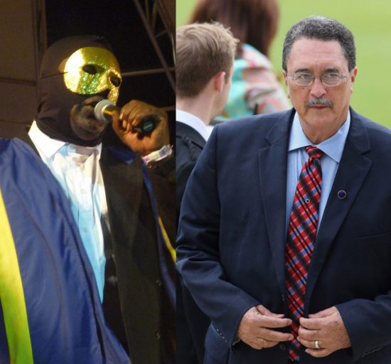 (Left) Inquiring minds want to know is Papa Vader being financed by state-funded creative industries? (Right) Come calypso finals 2016 will Kenny Anthony try to outdo Stevenson King by making an appearance on stage?