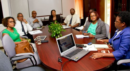 The Minister for Industry, Commerce, Enterprise Development and Consumer Affairs, Bradly Felix (second from left) and PS Dr. Alison Gajadhar (extreme left) met with staff at TraDE Saint Lucia (formerly TEPA).