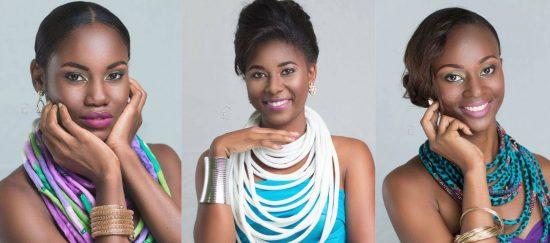 (Left) Bernella Velinor - Miss Piton (Centre) Tyler Theophane - Miss FICS (Right) Anna-Kim Williams - Miss St. Lucia Tourist Board