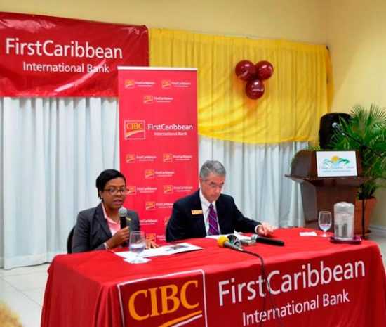 CIBC FCIB Country Manager, Ladesa James-Williams alongside Willian Wright, Director, Business Banking.
