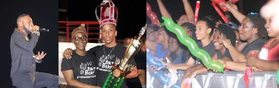 (Left) Sedale singing to soca lovers. (Centre) King Arthur proudly bears his crown for the third time. (Right) Female fans captivated by the sights and sounds of the performers.
