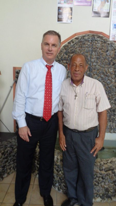 Kevin Hanville, Partner at Tenacia Global (left) with George Eugene Executive Director of the St Lucia Diabetic and Hypertensive Association.