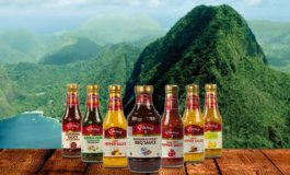 Exotic Sauces from Viking on Tables at Le Petibonum Restaurant in Martinique